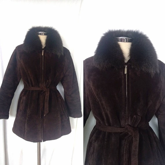 Vintage Hugo Boss Brown Suede Shearling Jacket Coa