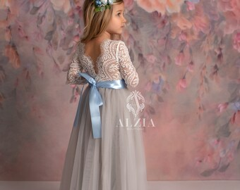Grey Flower Girl Dress Grey Rustic Flower Girl Grey Jr Bridesmaid Dress Grey Country flower girl dress Grey Lace Flower girl Dress