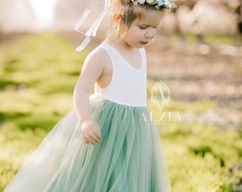 Sage Green Tulle Sleeveless Lace Top Scalloped Edges Back Party Flower Girl Dress