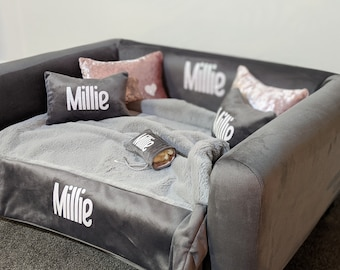 Personalized memory foam Dog Bed size Medium with faux fur blanket, 4 pillows +FREE Poo Bag holder - Berkley Dog Sofa