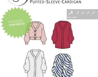 Puffed Sleeve Cardigan by SIMIJO Cardigan Sewing Pattern Paper Cut Pattern