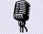 Vintage Microphone Download SVG png cut file, Microphone digital Download SVG Cut file, png, cricut svg clip art Vintage svg- Music svg png