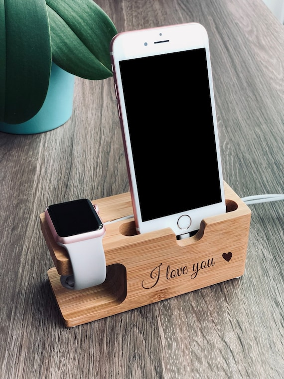 8 X 7 XS and Android Phones Personalized Gift for Birthday Customized Bamboo Phone Stand for iPhone 6