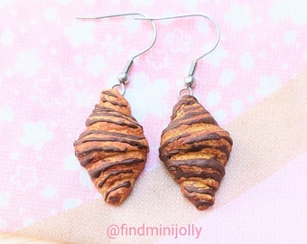 Chocolate Croissant Earrings, Miniature Food Earrings, Polymer Clay Earrings, Miniature Food Jewelry, Girls Earrings, Tiny Food Earrings