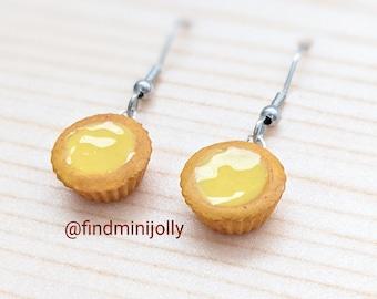 Cute Eggtart Earrings, Dim Sum, Miniature Food Earrings, Miniature Food Jewelry, Tiny Food Jewelry, Gift for Her, Polymer Clay Earrings