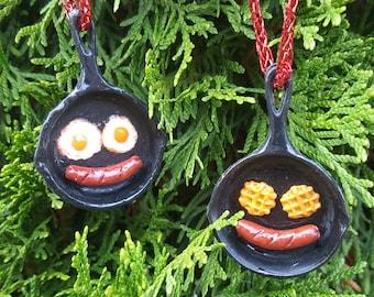Emoji Christmas Ornament, Funny Christmas Ornament, Food Christmas Ornament, Sausage, Egg, Waffle on Hot Iron Pan Ornament, Cute Ornament