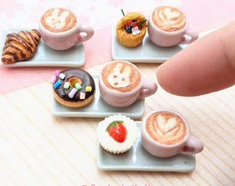 Miniature Cafe Set, Miniature Food 1:6, Cafe Latte, Miniature Bakery, Gifts for Girls, Barbie, Blythe, OMG Dollhouse Food, Polymer Clay Food