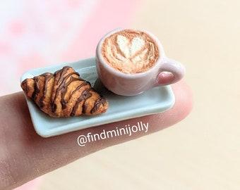 Miniature Cafe Latte, Chocolate Croissant, Miniature Food 1:6, Miniature Bakery, Barbie, Blythe, OMG Dollhouse Food, Polymer Clay Tiny Food
