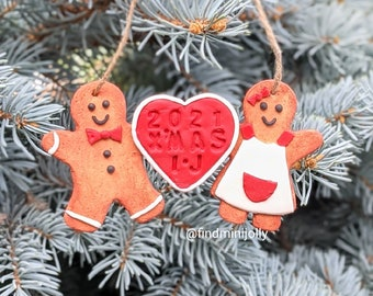 Personalized Ginger Bread Cookie Ornament, Unique Tiny Food Ornament, Miniature Food Ornament, Cute Ornament, Handmade Christmas Gift