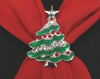 Rhinestone Jewelry for Scarf Gift for Her Fashion Ornament Brooch for Women Scarf Accessory Buckle Xmas Tree Triple Scarf Ring /&Gift Box
