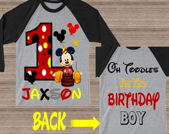 Mickey Mouse First Birthday Mickey First Birthday Shirt First Birthday Boy Mickey Mouse Outfit Boy Mickey Mouse Birthday Shirt 292618