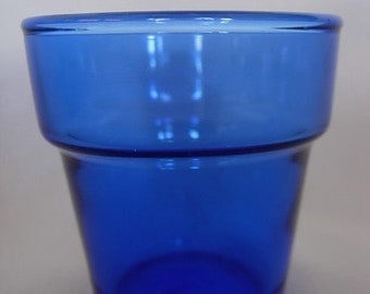 Collectible Solid Cobalt Blue Pressed Glass Moon Face Votive//Tealight