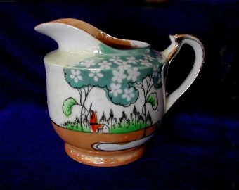 Vintage Collectible MADE IN JAPAN Hand Painted Windmill Scene Lusterware Ceramic Creamer - Estate Item