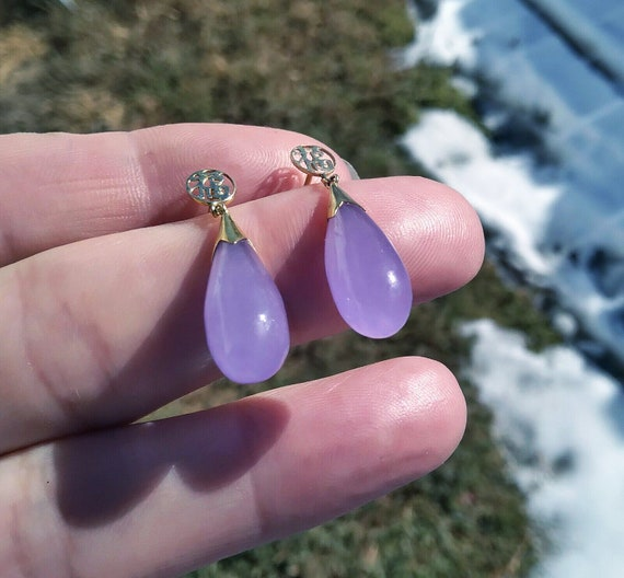 Many More Jade pieces see store! 14k Solid Gold Lavender Purple JADE *Tested Genuine* 1.25 Dangle Drop Pendant