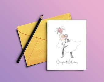 Printable Wedding Card, Congratulations, greeting card, congrats, wedding, marriage, gift card