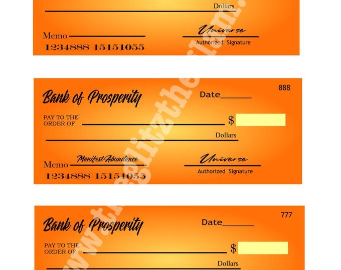 Manifestation check Law of Attraction ABUNDANCE check Bank of Prosperity
