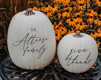 Personalized Pumpkin   Fall Decor   Family Name   Baby Announcement   Engagement Announcement   Halloween Decor   Thanksgiving Decor