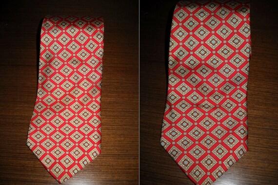 vintage BURBERRY Burberrys mens red silk tie neckt