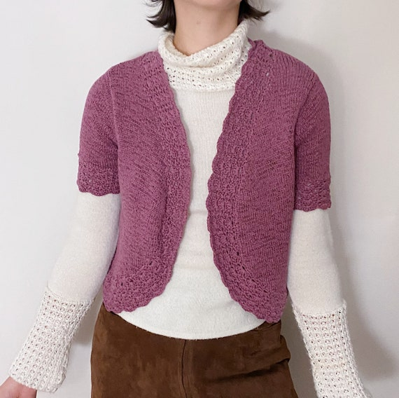 vintage 90's lilac crocheted cropped cardigan