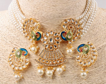 Bollywood Jewelry  Indian Jewelry set  Indian Handmade jewelry pair Earrings set Indian Party Jewelry Necklace gift for her SKU:114420