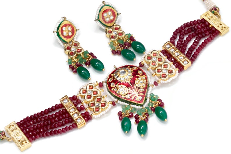 Bollywood Jewelry  Indian Jewelry set  Indian Handmade jewelry pair Earrings set Indian Party Jewelry Necklace gift for her SKU:114258