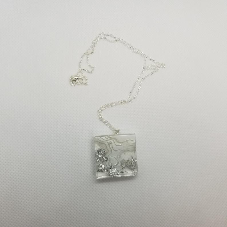 White Square Arctic Resin Island Pendant w Silver Foil