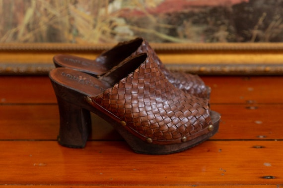 Leather Woven Brown Clogs Vintage 70's