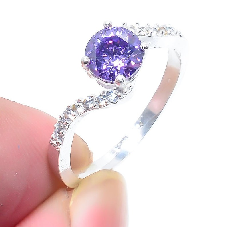 Pink Amethyst Gemstone Handmade 925 Sterling Silver Jewelry Ring Size 6.5 *Statement *Bridal *Wedding *Natural *Thin *Gift For Her