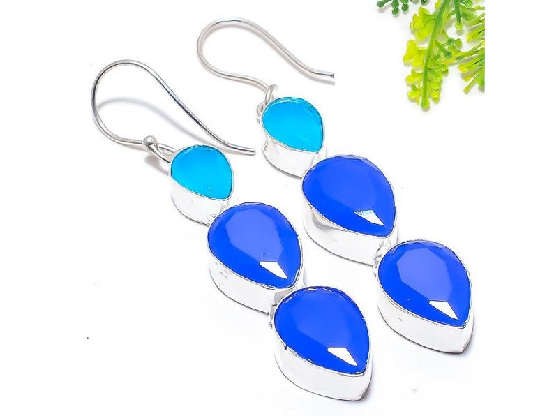 Sterling Silver Blue Onyx Gemstone Ethnic Jewelry Earring Anniversary Valentines Birthday Surprise Gift for Her for Mom  Earring Jewel 2.3