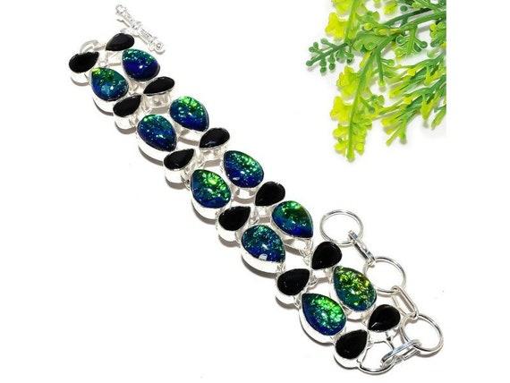 Earring 2.3 925 Sterling Silver  Garnet Blue Topaz Gemstone Ethnic Jewelry Earring Anniversary Valentines Birthday Gift for Her