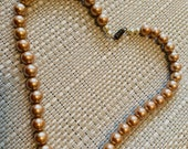Vintage bronze simulated pearl choker, necklace. Mother s Day gift
