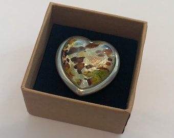 Vintage heart ring,  silver tone and lucite style ring, amber colour ring,