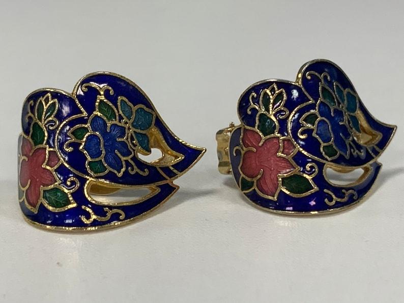 Vintage cloisonn\u00e9 enamel clip earrings