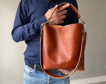 High Quality Vegetal Leather Handmade Bag, Italian Genuine Veg Tan Leather Handbag, Leather Bag