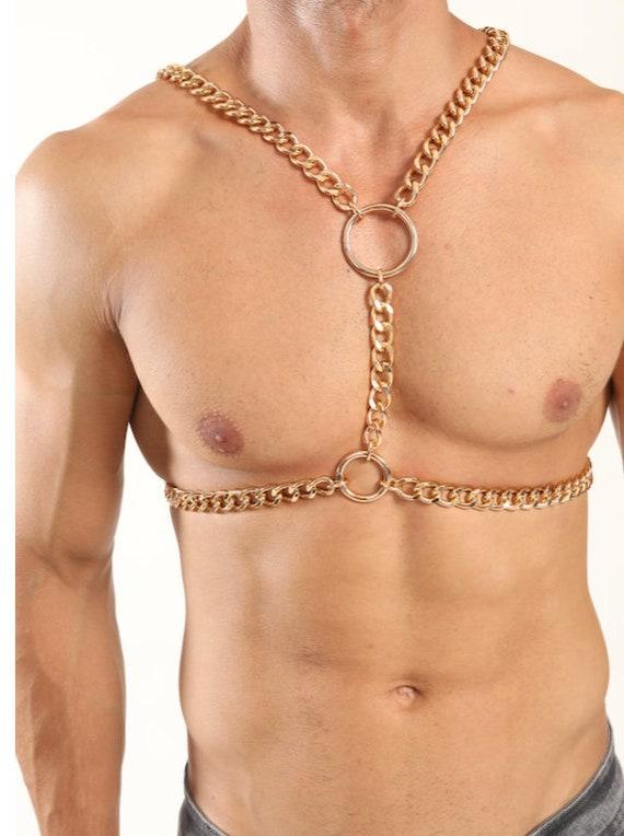 Body chain men Silver bodychain man harness men jewelry Larp Viking Apocalyptic Armor Medieval Costum Cosplay Steel Men Gold
