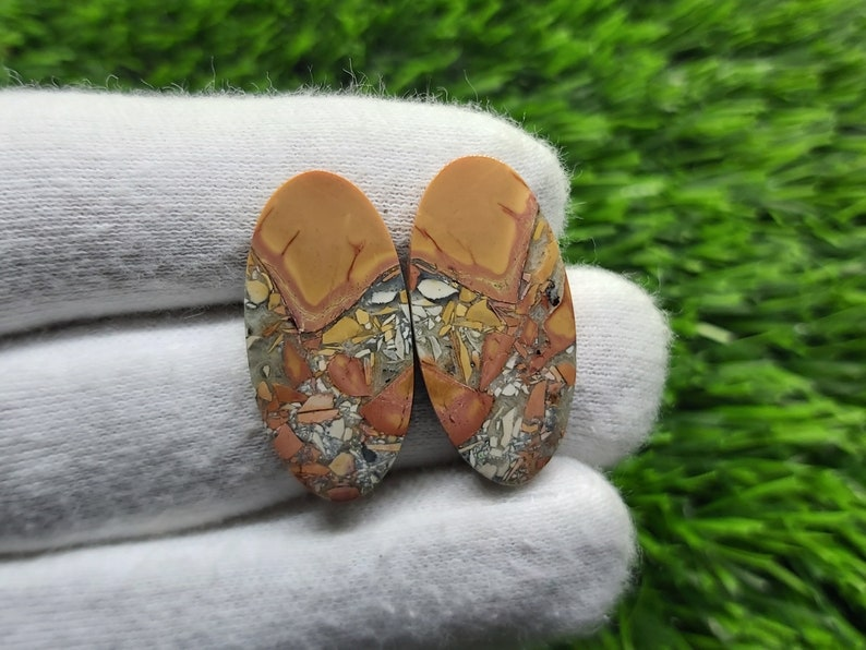 Natural Multi Colored MALIGANO INDONESIAN JASPER Pair OvalMarquisePear Cabochon