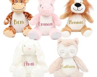 Personalised plushie, soft toy, teddy, Unicorn, Lion, Giraffe, Bunny, Owl