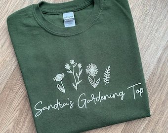 Personalised gardening top, garden T-shirt, ladies tee, floral, flower design