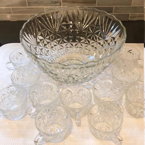Vintage Crystal Punch Bowl Set
