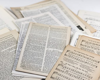 500+ Combo Music Sheets, Dictionary Pages, and Typography Pages / Vintage Book Pages