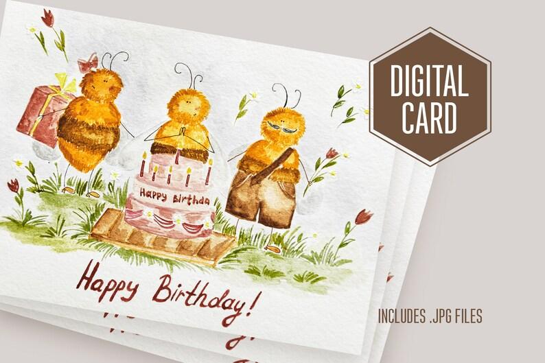 DIGITAL Happy Birthday card download file BEE digital card digital gift CARD