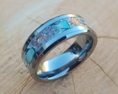 Handmade Turquoise set Tungsten Carbide ring. Set with Turquoise and Copper