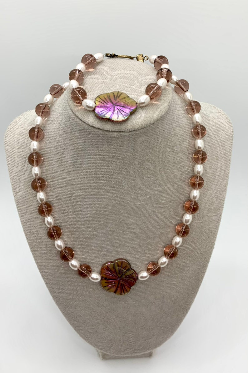 Necklace set glass pearl jewelry bridal set flower necklace bracelet set mother of pearl jewelry purple glass jewelry made in Hawaii