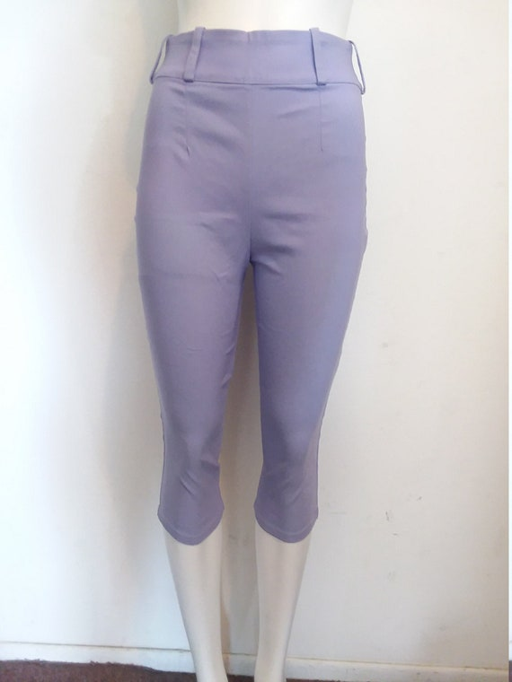50s Style Pin-Up Lavender Capris, XS/S/M, High Was