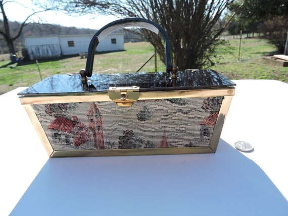 Lucite Tapestry Box Purse Brass 50's 60's MCM Even