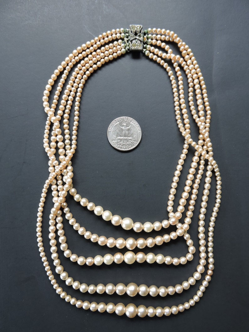 Five Strand Costume Faux Pearls Rhinestone Clasp 30/'s 14.5 to 19 June Cleaver Donna Reed Off White