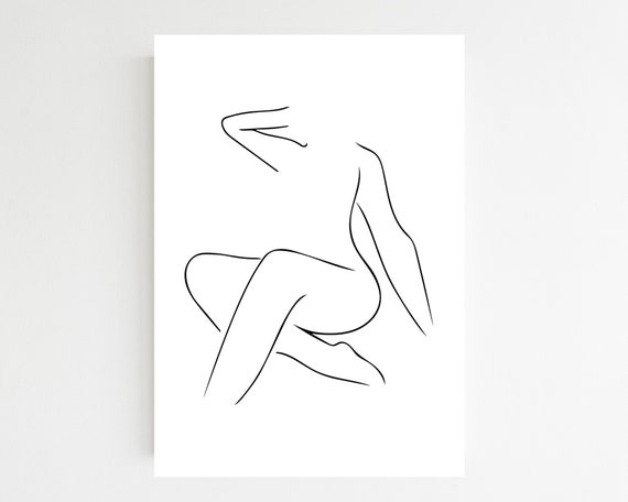 Body Language Minimalist Print Nude Line Drawing Female Etsy