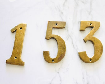 """Vintage Brass Address Numbers #1/'s  4/"""" Each"""