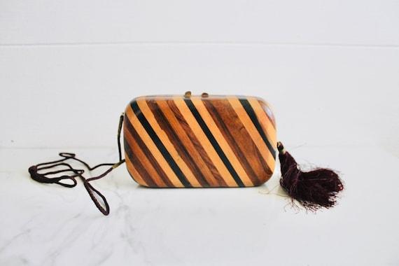 Boho Wood Purse    Vintage Purse    1970's Purse  