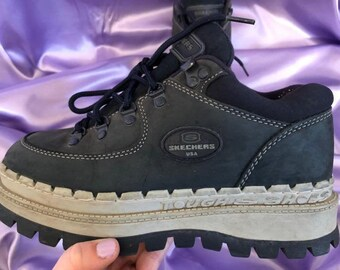 RARE navy blue suede skechers platform sneakers | Depop
